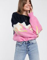 & Other Stories flame print puff sleeve sweater in multi