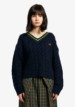 フレッドペリー セーター F7178 01 WOMEN TILDEN SWEATER NAVY