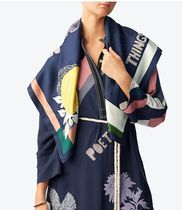 Tory Burch POETRY OF THINGS EMBROIDERED SLK SQUARE SCARF