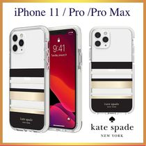 ★kate spade★ボーダー クリア iPhone 11/11Pro/Pro Max ケース