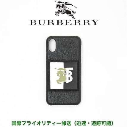 Burberry スマホケース・テックアクセサリー BURBERRY Contrast Logo Graphic Leather iPhone X/XS Case