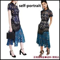 Self-Portrait 'Prairie'Mixed Lace Midi Dress