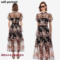 Self Portrait 22 black maxi lace floral dress