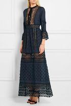 Self portrait Floral Appliqued Guipure Lace Crepe Maxi Dress