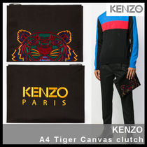 【KENZO ケンゾー】A4 Tiger Canvas clutch F85 5PM302 F20 99C