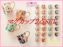最安値*関税送料込【Anthro】Garden Party Monogram Mug 2点SET