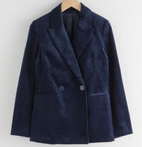 """& Other Stories"" Double Breasted Corduroy Blazer Navy"
