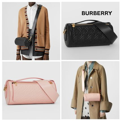 【Burberry】 Monogram Leather Barrel Bag