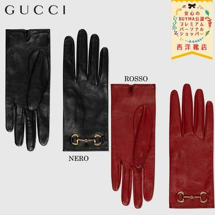 GUCCI 手袋 【正規品保証】GUCCI★2020CRUISE★LEATHER GLOVES W/ HORSEBIT
