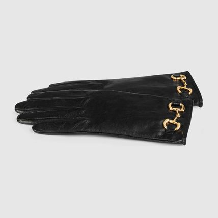 GUCCI 手袋 【正規品保証】GUCCI★2020CRUISE★LEATHER GLOVES W/ HORSEBIT(2)
