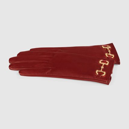 GUCCI 手袋 【正規品保証】GUCCI★2020CRUISE★LEATHER GLOVES W/ HORSEBIT(4)