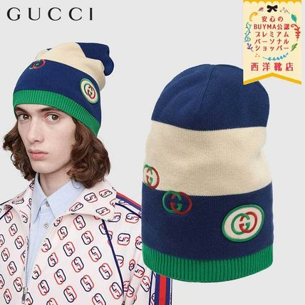 GUCCI ニットキャップ・ビーニー 【正規品保証】GUCCI★2020SS★KNIT HAT WITH INTERLOCKING G