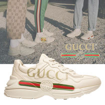 追跡あり配送!Gucci Rhython Leather Sneaker 'Logo'