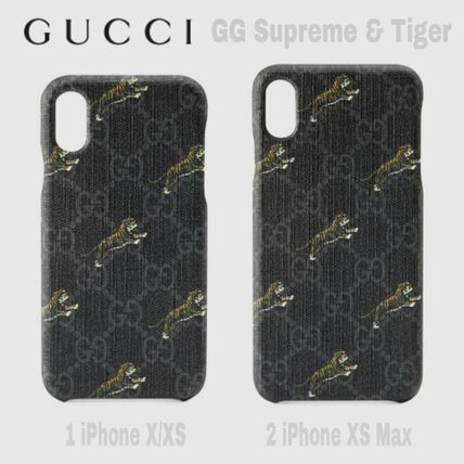 GUCCI スマホケース・テックアクセサリー 限定SALE★黒濃灰GG Supreme【送込 GUCCI】iphone X-XS Max★虎