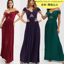 国内発送ASOS DESIGN premium lace and pleat bardot maxi dress
