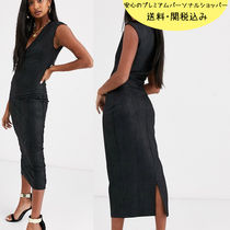 国内発送ASOS DESIGN snake leather look midi dress