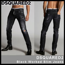 【D SQUARED2】Black Worked Slim Jeans 74LB0587