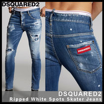 【D SQUARED2】Ripped White Spots Skater Jeans 74LB0603