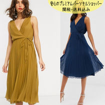 国内発送ASOS DESIGN wrap bodice midi dress with tie waist