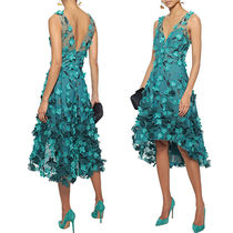 【MARCHESA NOTTE】Floral-appliqued embroidered tulle dress