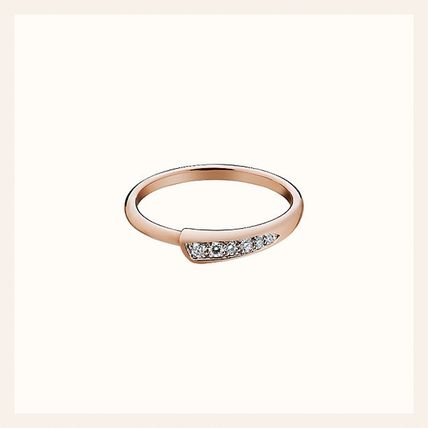 ●HERMES●Chaine d'Ancre Punk ring●rose gold & 6 diamonds