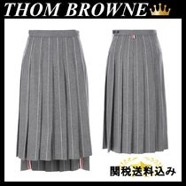 THOM BROWNE PINSTRIPED WOOL PLEATED SKIRT