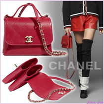 【19AW NEW】CHANEL_women /  leather & metal ハンドル付バッグ