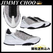 JIMMY CHOO RAINE SNEAKERS IN SMOOTH AND GLITTER