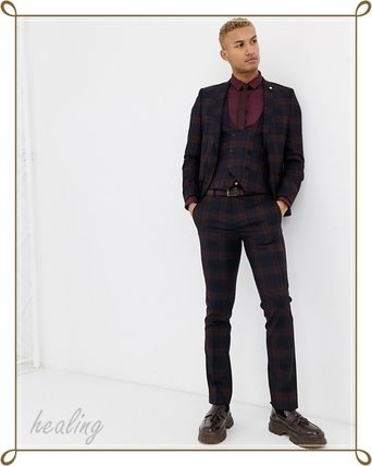 ASOS スーツ ASOS★Twisted Tailor3点セットスーパースキニースーツチェック(9)