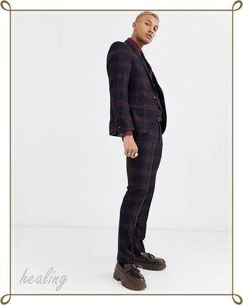 ASOS スーツ ASOS★Twisted Tailor3点セットスーパースキニースーツチェック(13)