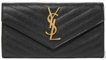 ★SAINT LAURENT★QUILTED TEXTURED-LEATHER WALLET