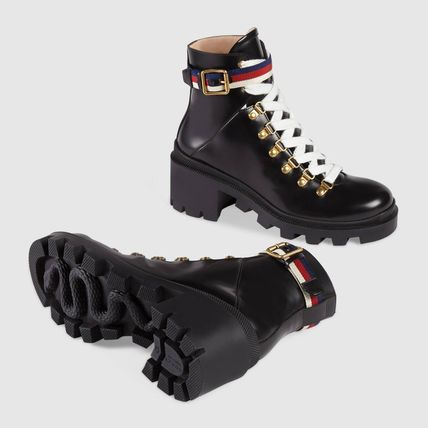 GUCCI ミドルブーツ ★GUCCI★ Leather ankle boot with Sylvie Web ☆ブーツ☆(5)