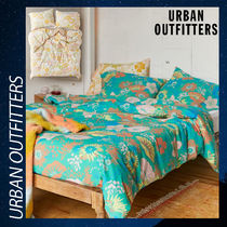 Urban Outfitters 掛け布団 カバー 枕カバー 花柄 緑 黄 ツイン