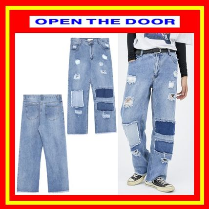 [OPEN THE DOOR]  fabric patchwork denim pants  /追跡付