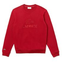 LACOSTE 大人気 Embroidered Logo Cotton スウェット 赤