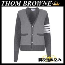 THOM BROWNE HEAVY PIQUET AND WOOL KNIT CARDIGAN