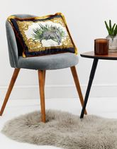 River Island fringed cushion with leopard print