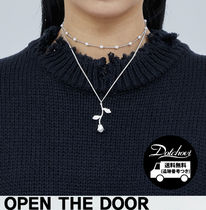 OPENTHEDOOR circle pearl set rose necklace OH83