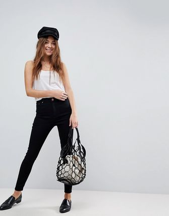 ASOS デニム・ジーパン ASOS DESIGN Ridley high waisted skinny jeans in clean blac(4)
