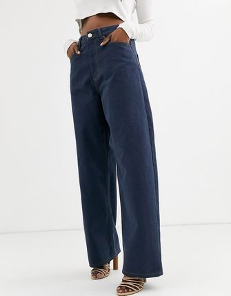 ASOS デニム・ジーパン ASOS DESIGN High rise 'relaxed' dad jeans in smokey blue w