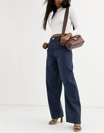 ASOS デニム・ジーパン ASOS DESIGN High rise 'relaxed' dad jeans in smokey blue w(4)