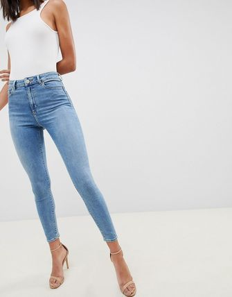 ASOS デニム・ジーパン ASOS DESIGN Ridley high waisted skinny jeans in pretty mid