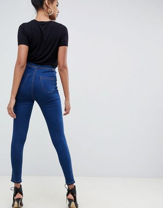 ASOS デニム・ジーパン ASOS DESIGN Rivington high waisted jeggings in flat rich b(2)