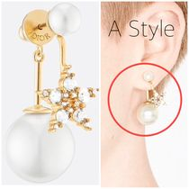 WHITE CRYSTAL MY ABCDIOR TRIBALES GOLD FINISH EARRING