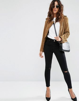 ASOS デニム・ジーパン ASOS DESIGN Ridley high waisted skinny jeans in clean blac