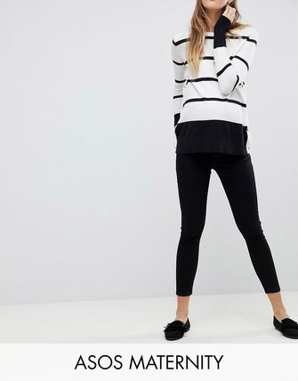 ASOS デニム・ジーパン ASOS DESIGN Maternity Whitby low rise skinny jeans in clea