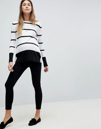 ASOS デニム・ジーパン ASOS DESIGN Maternity Whitby low rise skinny jeans in clea(4)