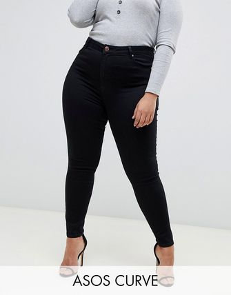 ASOS デニム・ジーパン ASOS DESIGN Curve Ridley high waisted skinny jeans in clea