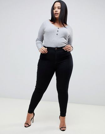 ASOS デニム・ジーパン ASOS DESIGN Curve Ridley high waisted skinny jeans in clea(4)