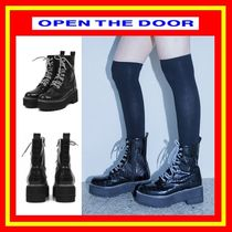 [OPEN THE DOOR]  leather stitch pattern walker boots /追跡付